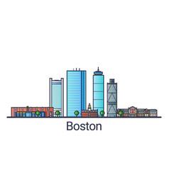 flat line boston banner vector image vector image