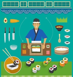 Sushi Chef and Cookware Sets Maki Sushi vector image