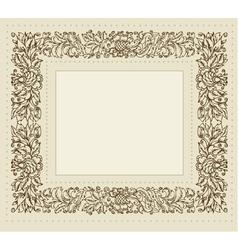 Vintage frame with floral ornament vector