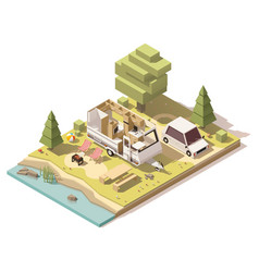 isometric low poly camper in campsite vector image vector image