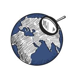 sketch of blue earth with white continents vector image