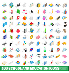 100 school and education icons set vector image vector image