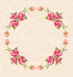 floral frame with roses vector image vector image