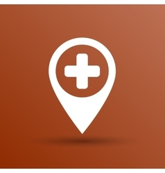 Map Pointer Icon With Cross Hospital First Aid vector image vector image