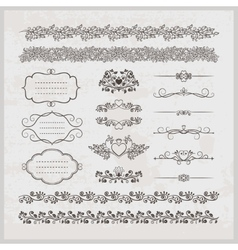 Page decoration borders frames and hearts vector image vector image