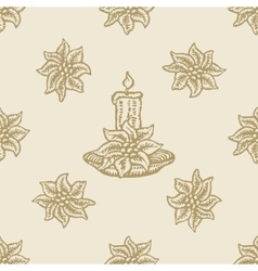 poinsettia christmas flower candle pattern vector image vector image