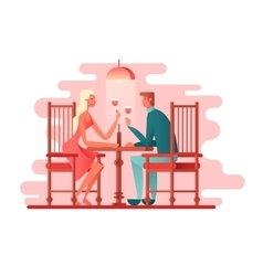 Romantic dinner a couple of lovers vector image