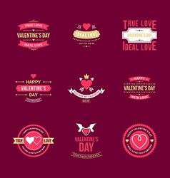 Set Of Vintage Happy Valentines Day Badges or vector image