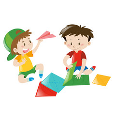 two boys folding paper airplane vector image