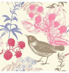 Vintage Birds Berries Pattern Background vector image
