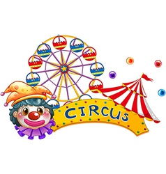 A clown with a circus signage and a ferris wheel vector image vector image