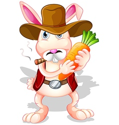 A rabbit holding a carrot with a hat and a vector image