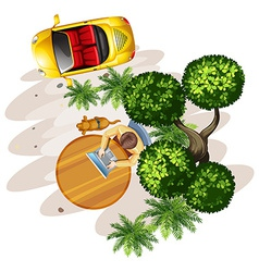 A topview of a table with a man a tree and a vector