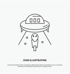 alien space ufo spaceship mars icon line gray vector image