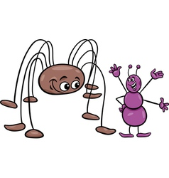 Ant and opilion cartoon vector