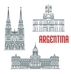 Argentina famous buildings facades vector image
