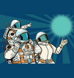 Astronauts family father mother and child vector