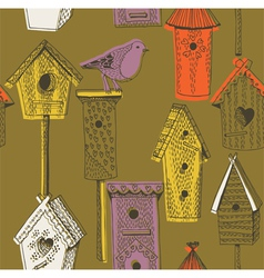 Birdhouse screenprint vector