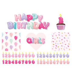 birthday design elements set for girls included vector image
