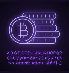 Bitcoin coins stack neon light icon vector