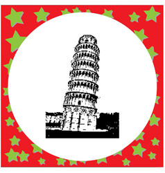 black 8-bit leaning tower of pisa italy vector image