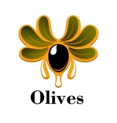 Black olive fruit with oil drops and leaves vector