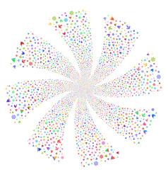 boat sailing fireworks swirl rotation vector image