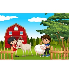 Boy and girl with farm animals in the farm vector
