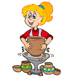 Cartoon pottery girl vector