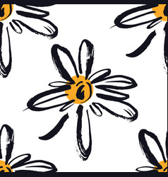chamomile seamless pattern hand drawing vector image