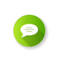 Chat bubble green flat design long shadow glyph vector