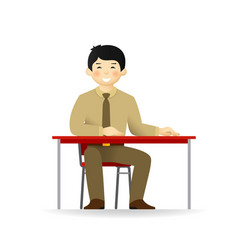 Cheeky asian man character sitting at table vector