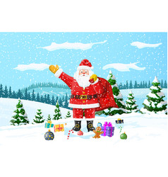 christmas background santa claus with bag gifts vector image