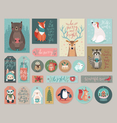 christmas cards and gift tags set hand drawn vector image