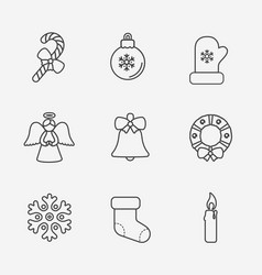 christmas icons thin line style on white vector image