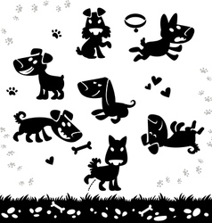 collection cartoon dogs silhouette vector image