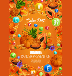 Color diet cancer prevention orange healthy food vector