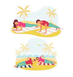 Couple doing plank exercise core workout together vector