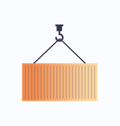 crane hook and cargo container box icon industrial vector image