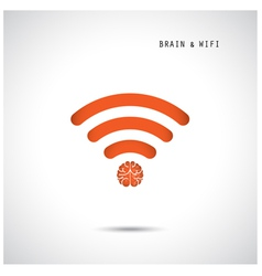 Creative brain concept and wifi sign vector image