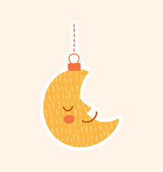 crescent moon new year toy or ornament vector image