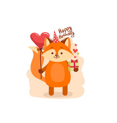 cute cartoon lovely red fox with text happy vector image