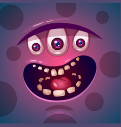Cute funny crazy monster character he is vector