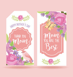 Cute romantic delicate floral banners mothers day vector