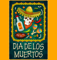 death day skull with sombrero tequila maracas vector image