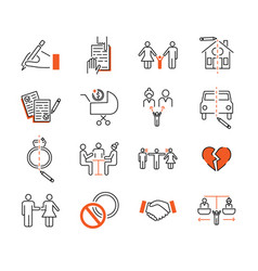Divorce mediation outline icon vector