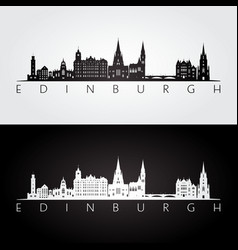 Edinburgh skyline and landmarks silhouette vector