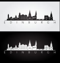 edinburgh skyline and landmarks silhouette vector image