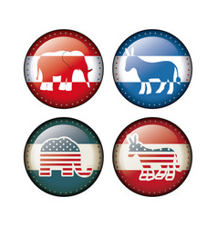 elephant and donkey of vote inside buttons concept vector image
