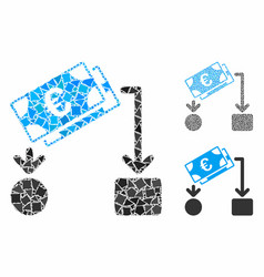 euro cash flow composition icon ragged parts vector image